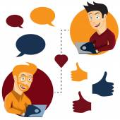 Vector illustration of online dating man and man app icons in ca — Stock Vector