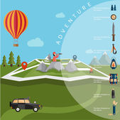 Flat design of explorer with spyglass and balloon on map with ad — Stock Vector