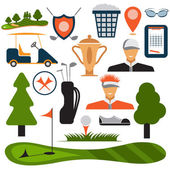 Flat Design Golf Icon Set Vector — Stock Vector
