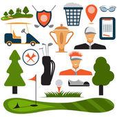 Flat Design Golf Icon Set Vector  — Stock Vector