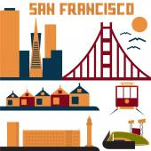Landmarks of San Francisco flat design — Stock Vector