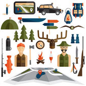 Flat design icons of fishing and hunting theme — Stok Vektör