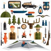 Flat design icons of fishing and hunting theme — Stock Vector