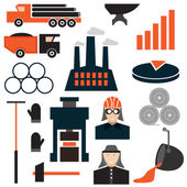 Flat design icons of metallurgy industry — Stock Vector