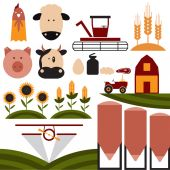 Cartoon flat design icons of agriculture — Cтоковый вектор