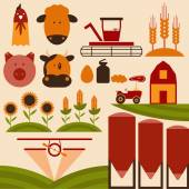 Cartoon flat design icons of agriculture — Vector de stock