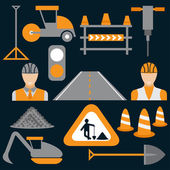 Men at work,road works flat design icons — Stock Vector