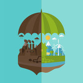 Illustrations concept of umbrella and earth with icons of ecolog — Stock Vector