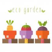 Illustration concept of garden pot with vegetables. Vector — Stock Vector