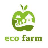 Illustration of concept eco farm in apple form. Vector — Stock Vector