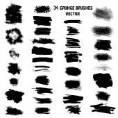 Set of 34 different grunge brush strokes.Vector — Stock Vector