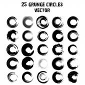 Set of 25 different grunge circles. Vector — Cтоковый вектор