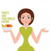 Illustration of a woman who chooses a healthy diet. vector — Stock Vector
