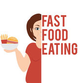 Illustration of a woman who chooses fast food. vector — Stock Vector