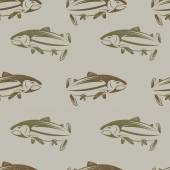 Seamless pattern on the subject of fishing. With fish, boat and  — Stock Vector