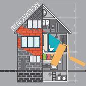 Renovation .House remodeling,flat design .Vector — Stock Vector