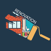 Renovation .House remodeling,flat design .Vector — Stock Vector