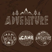 Hand drawn labels for adventure themes. Vector — Stock Vector