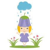 Illustration of happy small girl in flower hat. Vector — Stockvektor