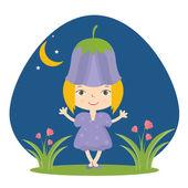 Illustration of happy small girl in flower hat. Vector — Stock Vector