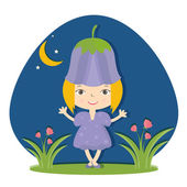 Illustration of happy small girl in flower hat. Vector — Stock Vector