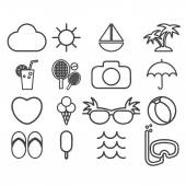 Line icons vector collection  of traveling, tourism and vacation — Stock Vector