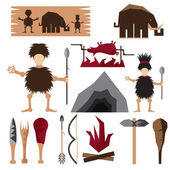 Flat design icons of paleo food and caveman theme — Stock Vector