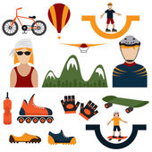 Flat design icons of extreme sport theme — Stock Vector
