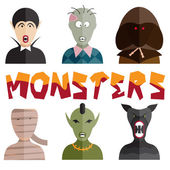 Flat design monsters icons — Stock Vector