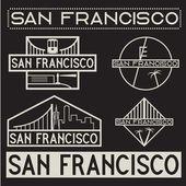 Landmarks of San Francisco vintage labels set — Stock Vector