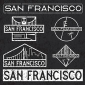 Landmarks of San Francisco grunge vintage labels set — Stock Vector