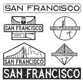 Landmarks of San Francisco grunge vintage labels set — Stok Vektör