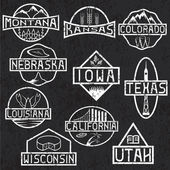 Grunge labels of states and landmarks of usa — Stock Vector