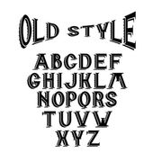 Old style alphabet for labels — Stock Vector