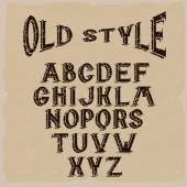 Old style grunge alphabet for labels — Stock Vector