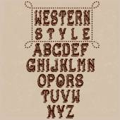Grunge western alphabet — Stock Vector