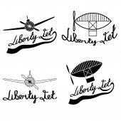 Retro aviation labels set — Stock Vector