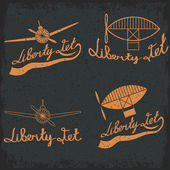 Retro aviation grunge labels set — Stockvektor