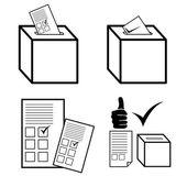 Politika, hlasování a volby ikony — Stock vektor
