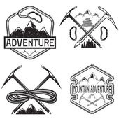 Set of grunge vintage labels mountain adventure — Stock Vector