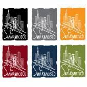 San francisco skyline sticker set — Stock Vector