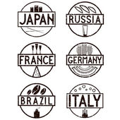 International food marks grunge labels set — Stock Vector
