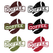 Retro grunge labels with coffee bean — Stock Vector