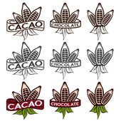 Cacao beans with leaves labels set — Stock Vector
