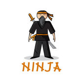 Cartoon young ninja illustration — Stock Vector