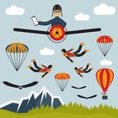 Selfie ekstremalne ilustracja pilotażowy projekt płaski — Wektor stockowy