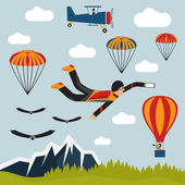 Selfie ekstremalne spadochroniarz Płaska konstrukcja ilustracja — Wektor stockowy