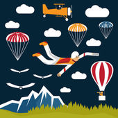Extreme selfie parachutist flat design illustration — Stock Vector