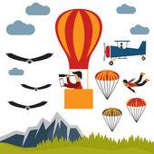 Экстремальные selfie воздушный шар плоский дизайн иллюстрация — Cтоковый вектор