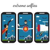 Extreme selfie flat design illustration — Stock Vector